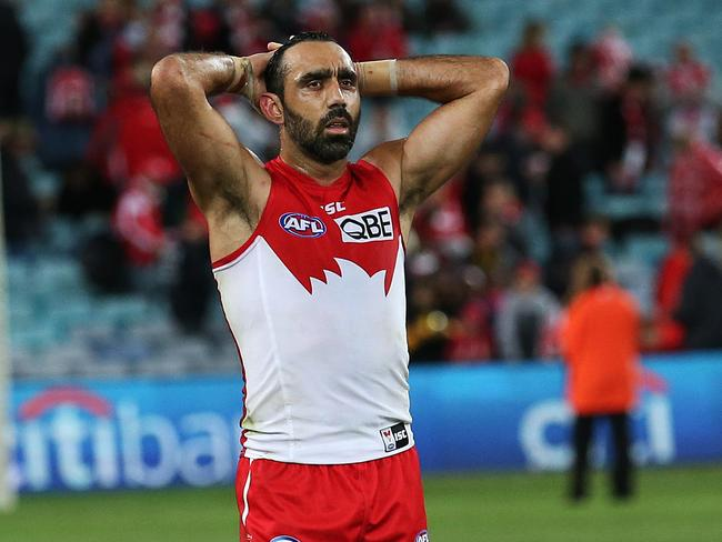 A dejected Adam Goodes after the Swans' loss to Richmond. Picture: Phil Hillyard