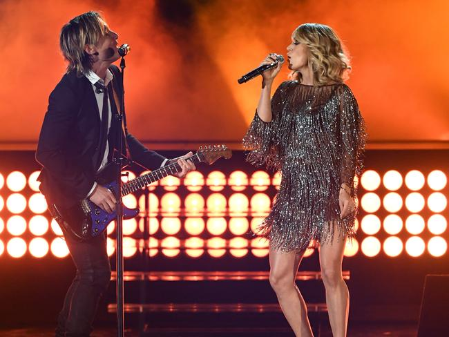Carrie Underwood performs with Keith Urban in April. Picture: Ethan Miller/Getty Images