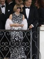 Vogue America chief-editor Anna Wintour leaves the Cipriani hotel to go to the George Clooney wedding with Amal Alamuddin, in Venice, Italy on Saturday, September 27th 2014. Picture: AP