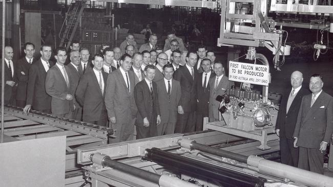 The first engine built at Geelong for the Ford Falcon, 29 April 1960. Picture: Supplied.