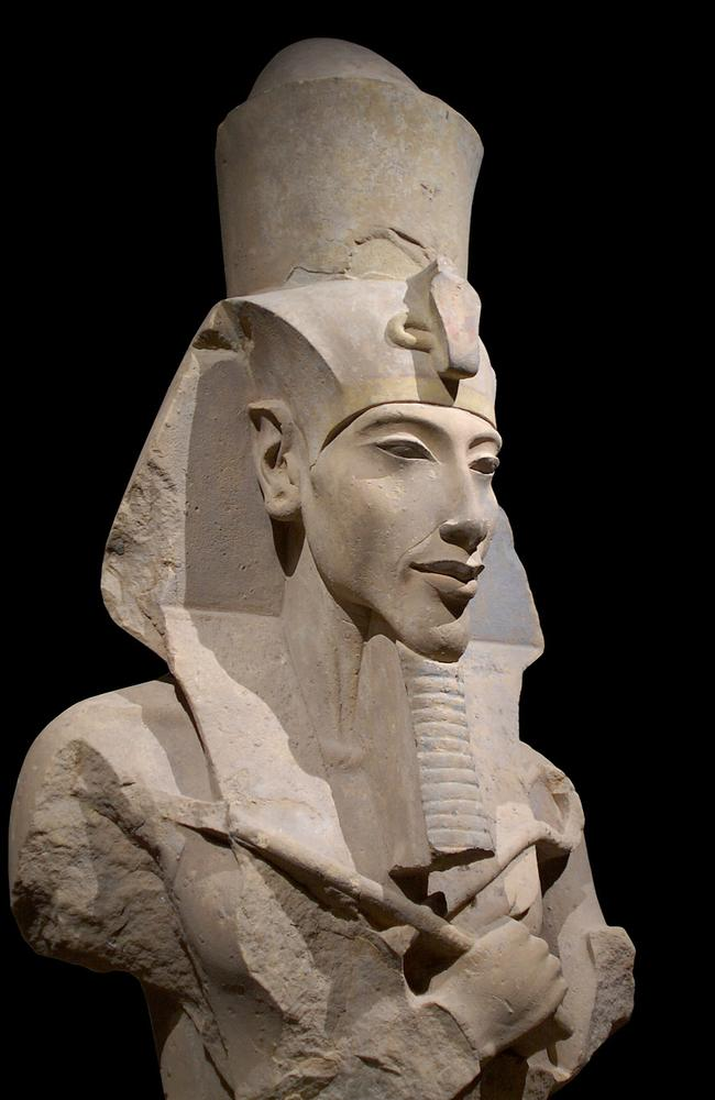 Heretic king ... The remains of a statue showing Pharaoh Akhenaten who disrupted Egypt by overthrowing the old religions and imposing the sun-god Aten as the sole deity. Source: Supplied