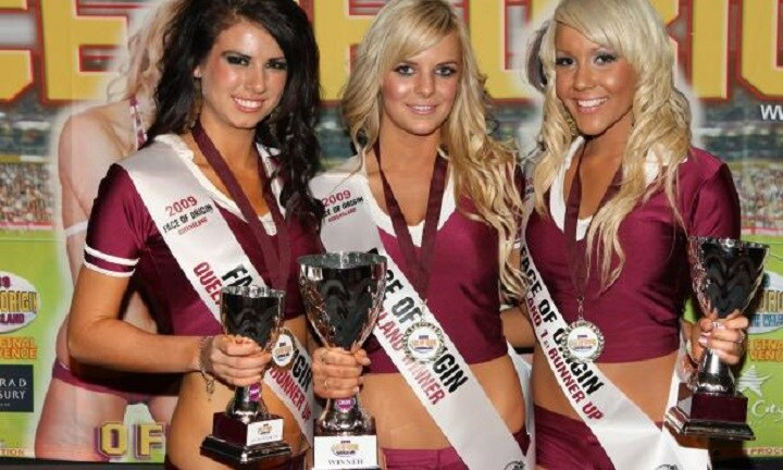 Davina (far right) poses in the Queensland colours.Source:Supplied