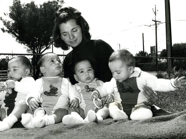 CLOSE: Mary Kyriazis with quads Dimitrios, Nicholas, Theodore and Victoria in 1974. Archi