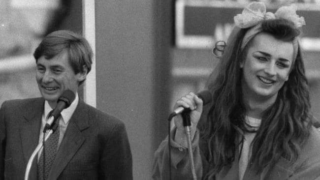 Boy George with then SA Premier John Bannon in Adelaide's Rundle Mall in July 1984.