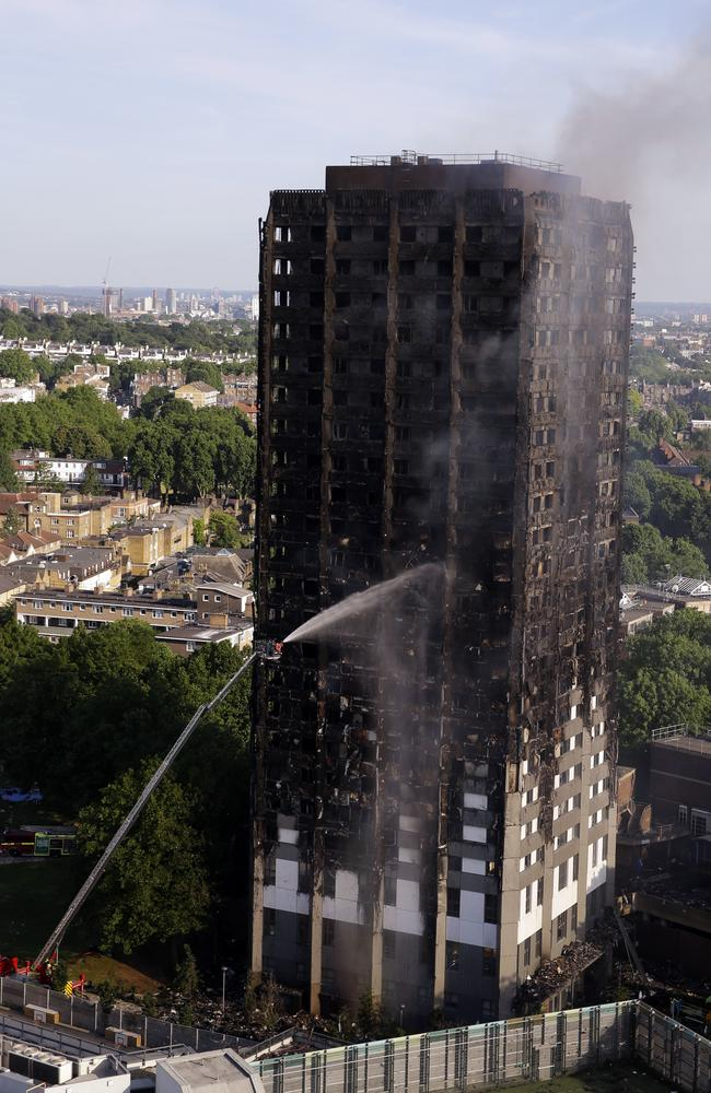 The burnt-out carcass of London's social housing dream. Picture: Alastair Grant/AP
