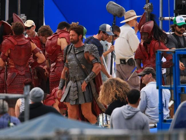 Gerard Butler filming Gods Of Egypt in Centennial Park today. Picture: Adam Taylor