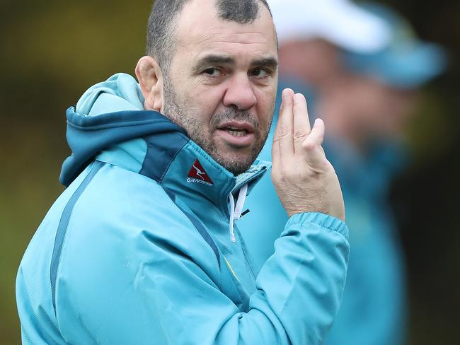 EDINBURGH, SCOTLAND - NOVEMBER 21: Michael Cheika Head Coach of Australia is seen during a training session at Peffermill Playing Fields on November 21, 2017 in Edinburgh, Scotland. (Photo by Ian MacNicol/Getty Images)