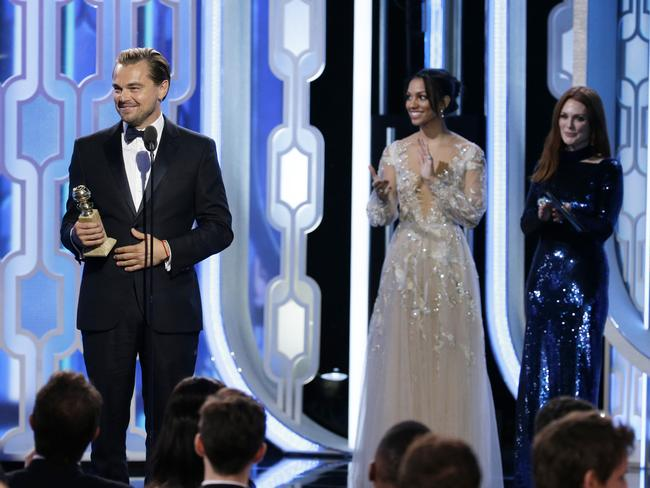"In this image released by NBC, Leonardo DiCaprio accepts the award for best actor in a motion picture drama for his role in ""The Revenant"" during the 73rd Annual Golden Globe Awards at the Beverly Hilton Hotel in Beverly Hills, Calif., on Sunday, Jan. 10, 2016. (Paul Drinkwater/NBC via AP)"