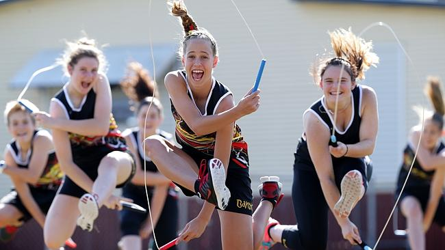 The Beenleigh Skipping Banditz training with Tori Groves-Little 13, centre, leading the routine. Pic: Adam Head