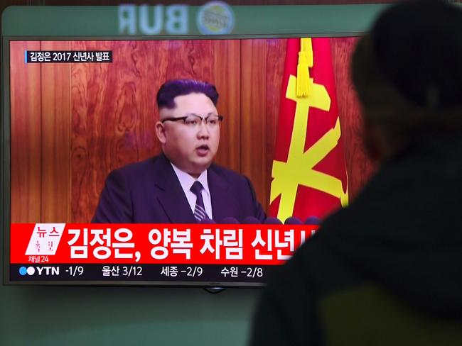 "North Korean leader Kim Jong-Un: ""We remain confident in our ballistic missile defense and in our defense of our allies and our defense of the homeland,"" he said in this televised address in December 2016. Picture: Jung Yeon-Je/AFP"