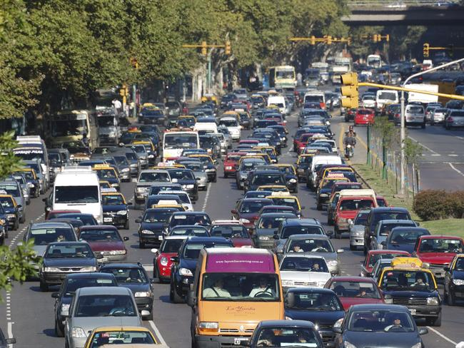 Congestion and a disregard of road rules in Latin America.