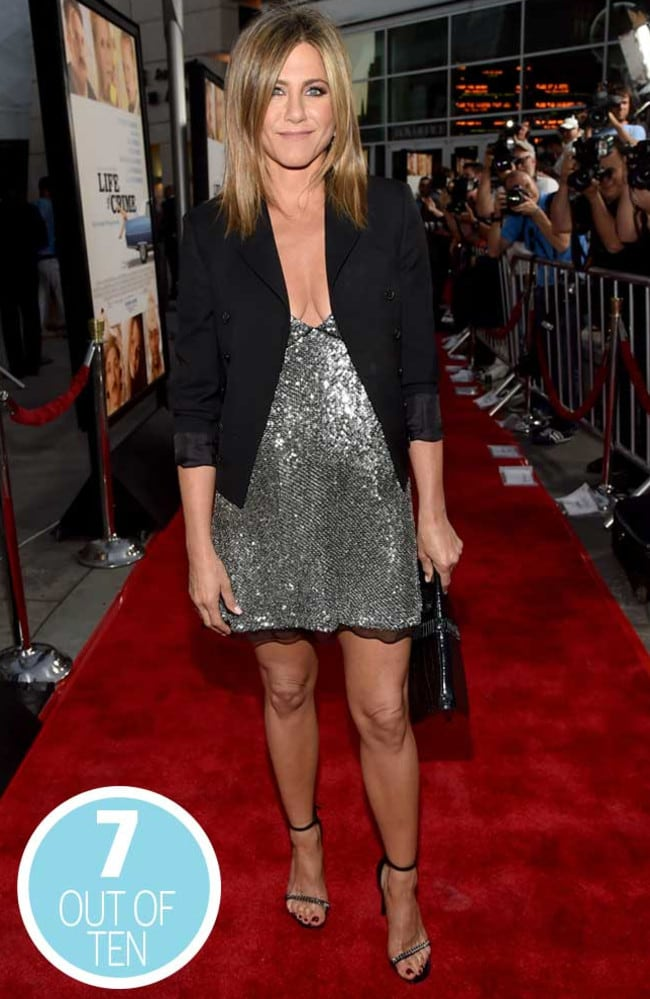 Never mind the bump — check out Jennifer Aniston's dress. Picture: AFP