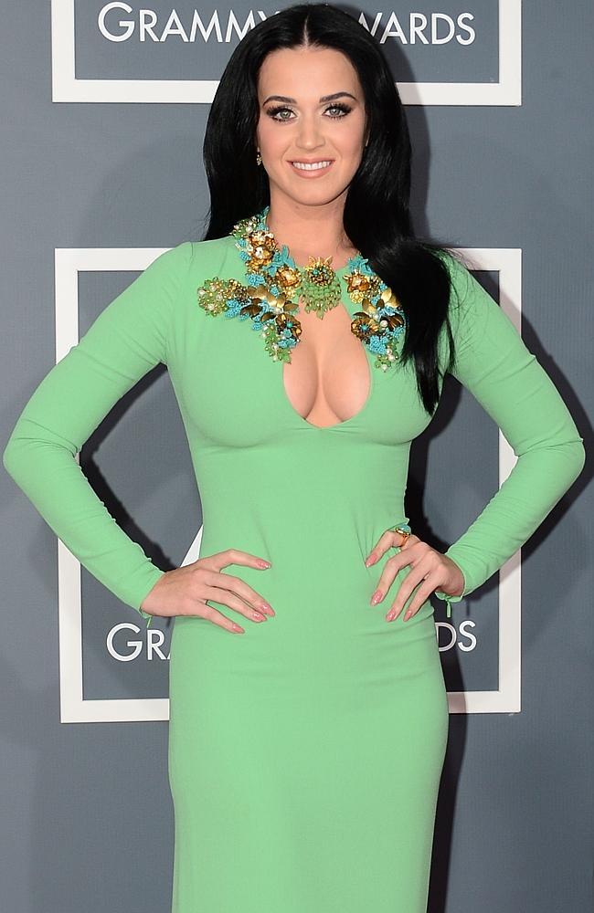 Katy Perry and a large keyhole cut dress at the Grammys. Picture: Getty
