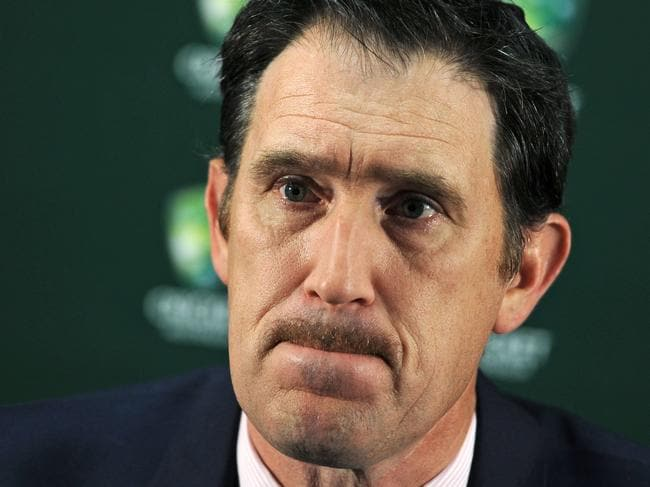 "Cricket Australia CEO James Sutherland speaks at a press conference in Perth on November 4, 2016 to discuss the recommendations from the Coronial Inquest into the death of Australian cricketer Phillip Hughes.  A ""minuscule misjudgement"" by Australian batsman Hughes when facing a bouncer led to his death, a coroner ruled on November 4, saying neither the bowler nor anyone else was to blame for the tragedy. / AFP PHOTO / Greg Wood / IMAGE STRICTLY RESTRICTED TO EDITORIAL USE – STRICTLY NO COMMERCIAL USE"