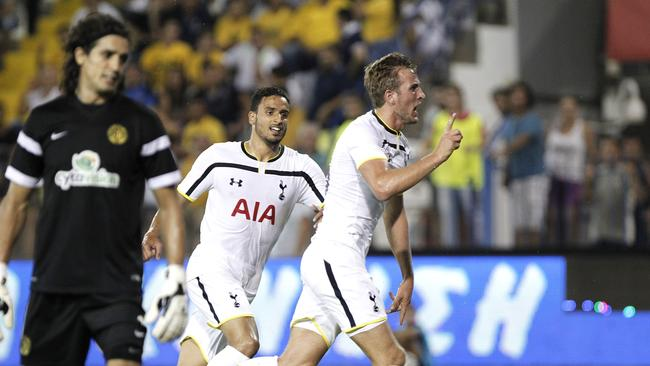 Harry Kane of Tottenham celebrates his goal.