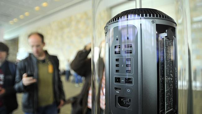 The new cylindrical Mac Pro was displayed at Apple's Worldwide Developer Conference (WWDC) in June. Hopefully we'll hear more details on this on Wednesday. Picture: AFP