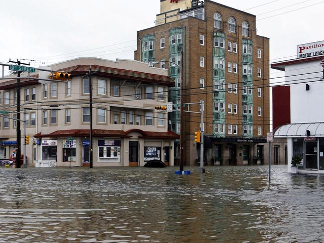 The intersection of 8th Street and Atlantic Avenue in New Jersey, USA after the storm surge from Sandy flooded much of the town.