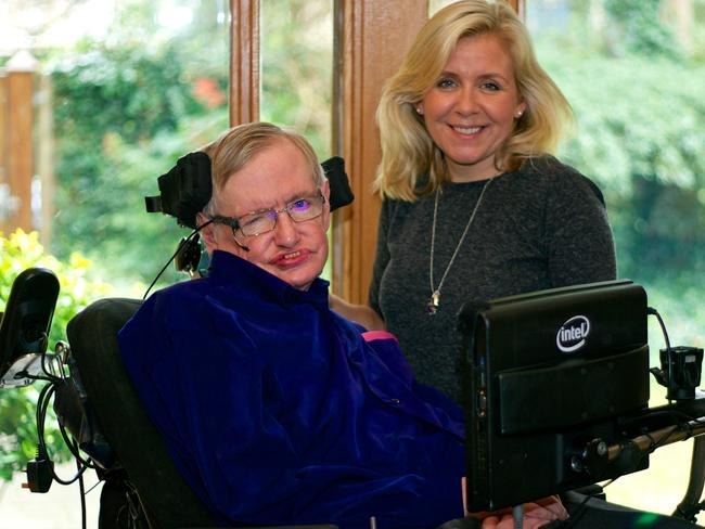 Stephen Hawking with his daughter Lucy. Picture: Angela Micu