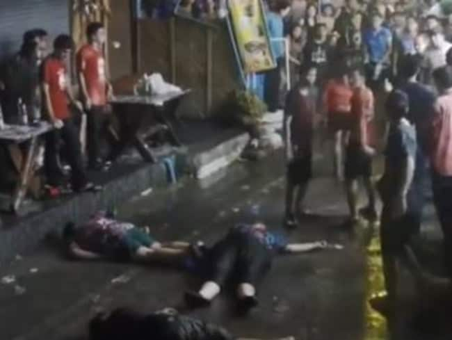 The family of three — son (foreground), mother (centre) and father (back left) — are knocked out unconscious. Picture: CCTV Image