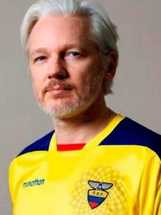 Julian Assange wearing an Ecuador football top. Picture: Supplied