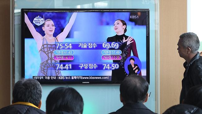Koreans watch as their figure skating favourite Yuna Kim is controversially beaten for the gold medal by Russia's Adelina Sotnikova.