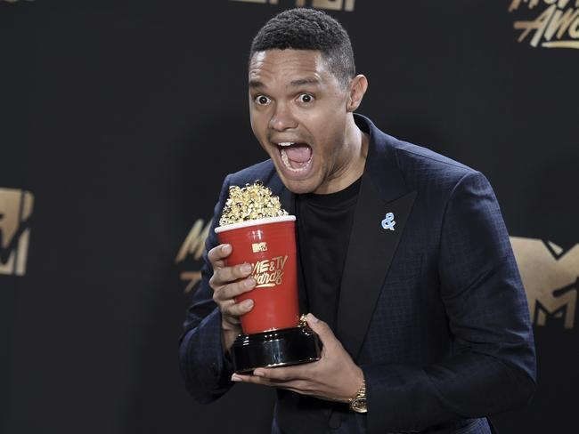 Trevor Noah clearly showshe is hungry at the MTV Movie and TV Awards. Picture: Richard Shotwell