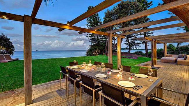 You can eat dinner while on holiday with a view like this for $40,000 a week. Picture: Luxe Houses