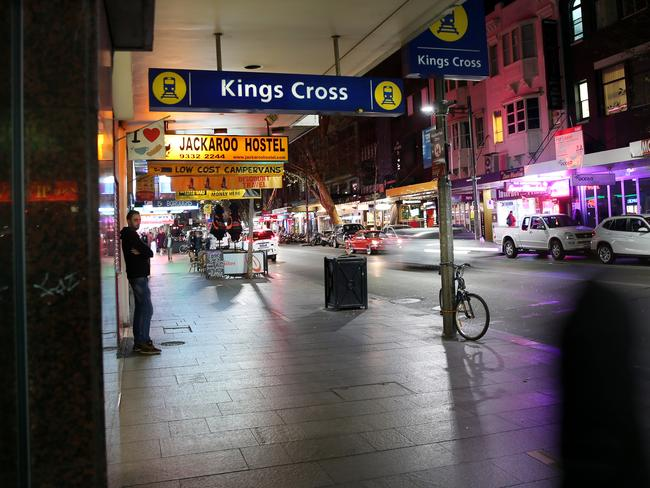 A very quiet Kings Cross after the lockout laws were brought in. Picture: Richard Dobson
