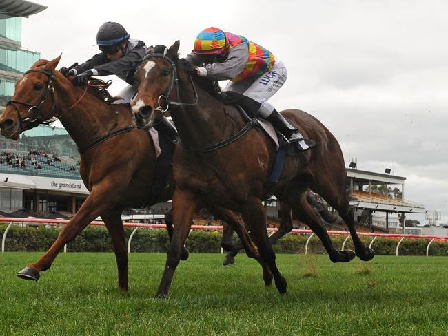Katelyn Mallyon used her claim on the Mick Kent-trained Written, which wore down the $2.45 favourite Jessy Belle on the line to win by a nose. Picture: Getty Images