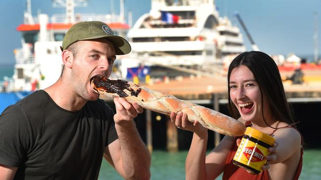 With an Aussie twist, Denzil Lincoln and Amy Speck welcome the French vessel, L'Austral as she docks in Darwin for a few months. Picture: Patrina Malone