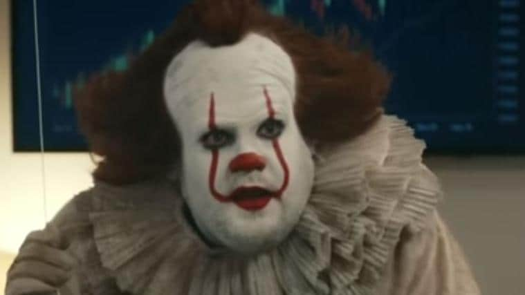 James Corden is unrecognisable as Pennywise from IT. Picture: CBS