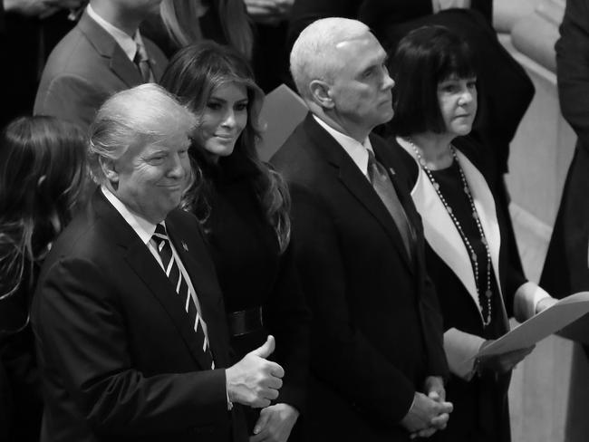 Prayer gatherings, religious ceremonies and church services are an important part of the Trump administration. Here, US President Donald Trump and Vice-President Mike Pence attend a National Prayer Service at the National Cathedral. Picture: AFP
