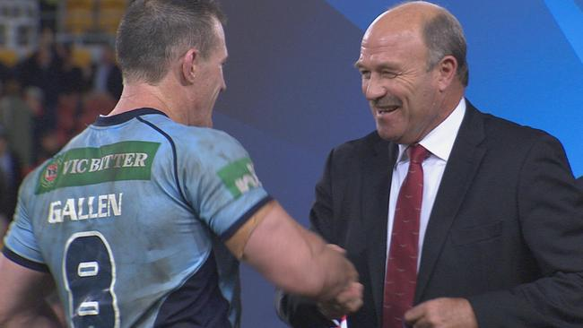Wally Lewis congratulates Paul Gallen on being named player of the series.
