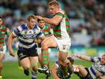 South Sydney's George Burgess makes a break during the NRL game between the Canterbury Bankstown Bulldogs and the South Sydney Rabbitohs at ANZ Stadium. Picture Gregg Porteous
