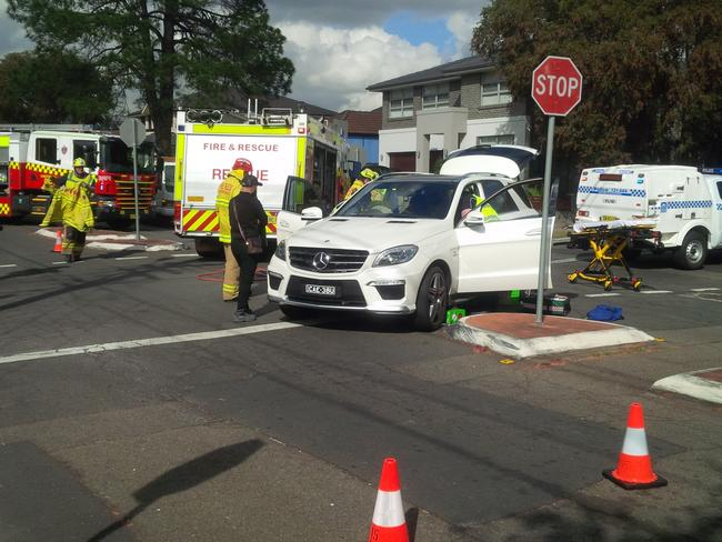 Firies at the scene of Mr Mehajer's accident which police allege was faked. Picture: Rob Quee