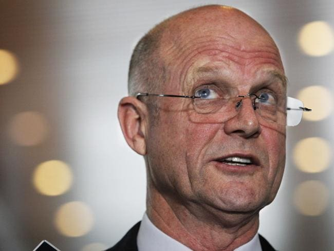NSW Liberal Democrat Senator David Leyonhjelm faces the media at Parliament House in Canberra announcing he will introduce a marriage deregulation amendment bill into the Senate.