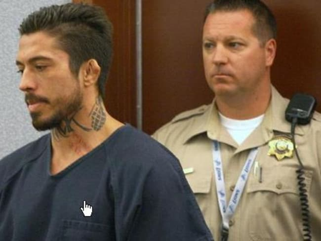 War Machine enters the courtroom at Clark County District Court for his trial, which opened this week