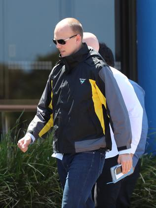 Nathan Ablett arrives at his sister's funeral. Picture: Alex Coppel