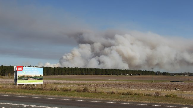 Fires at Ningi and Bribie Island north of Brisbane. Pic: Adam Smith