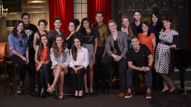 Team Ricky ... contestants and mentor Jessica Mauboy next to Ricky. Picture: Channel 9