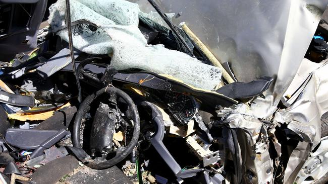 The crushed Hyundai involved in the quadruple fatal car accident on the Pacific Highway. Pic Nathan Edwards