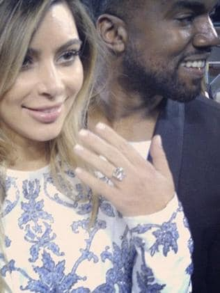 Kim Kardashian flashes her engagement ring with Kanye West. Picture: Instagram