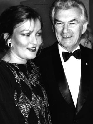 In 1985 ... Rosslyn Dillon with her father Bob Hawke. Picture: News Corp Australia