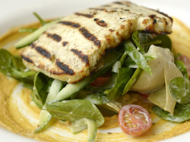 Food and Drink guide at The Upper Deck in North Sydney. Pictured is the Grilled Halloumi salad.
