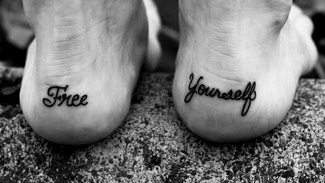 One divorcee had the backs of her heels tattooed with 'free' and 'yourself', so her ex would see it as she walked away.