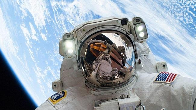 Legend ... NASA astronaut Mike Hopkins on his second space walk. Picture: NASA