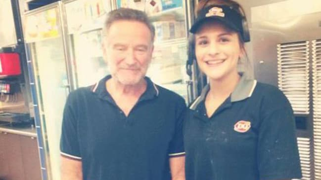 Private struggle ... Robin Williams visits a Dairy Queen restaurant near the Hazelden rehab clinic just weeks before his death. Picture: Facebook