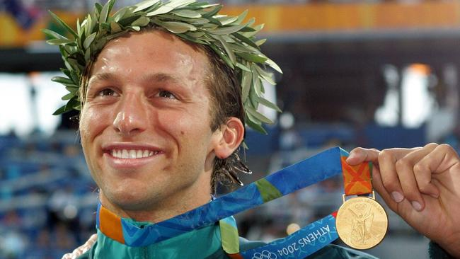 Ian Thorpe wins the 200m freestyle gold medal at the Athens Olympic Games