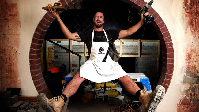 Building a business: Scott Yeoman working on the new Bread and Bone restaurant in Adelaide.
