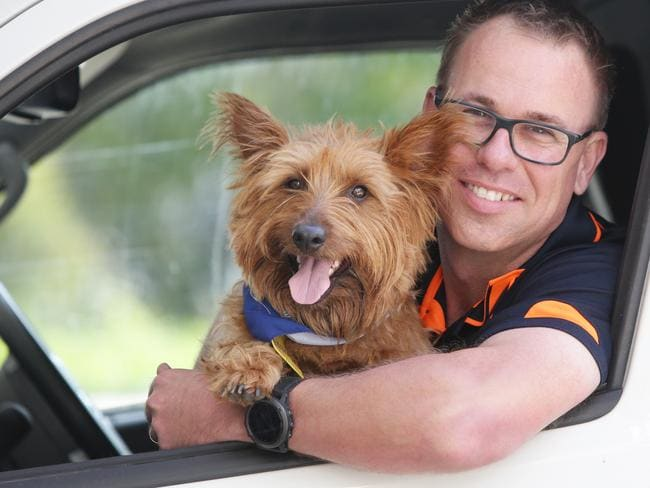 Scotty Williams, of Jetpets, with Rusty at their Brisbane transit lounge. Picture: Ric Frearson/AAP
